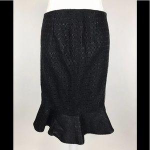 Carolina Herrera Women's Ruffle Skirt Black Sz 6
